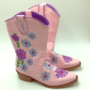 Blazin Roxx Western Boots Embroidered Girls 4.5